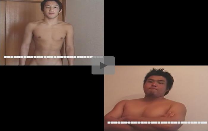 【無修正ゲイ動画】短髪のスジ筋とぽっちゃりとした男のオナニー姿を見ることができちゃう!