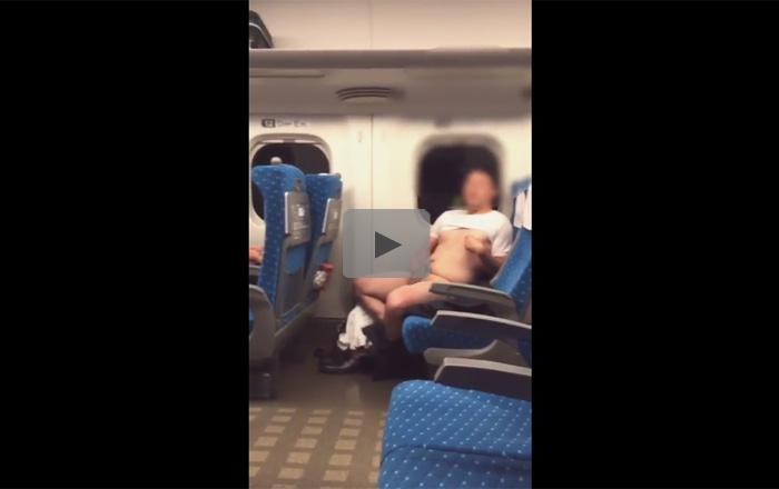 【無修正ゲイ動画】スーツのちょいぽちゃ変態素人が新幹線で車内露出!下半身を完全に露出し手淫し始める!